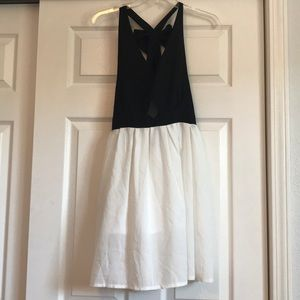 Open back black and white dress